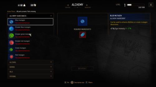Alchemy screenshot of The Witcher 3: Wild Hunt video game interface.