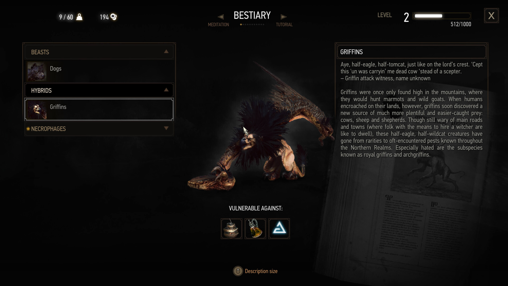 Bestiary screenshot of The Witcher 3: Wild Hunt video game interface.