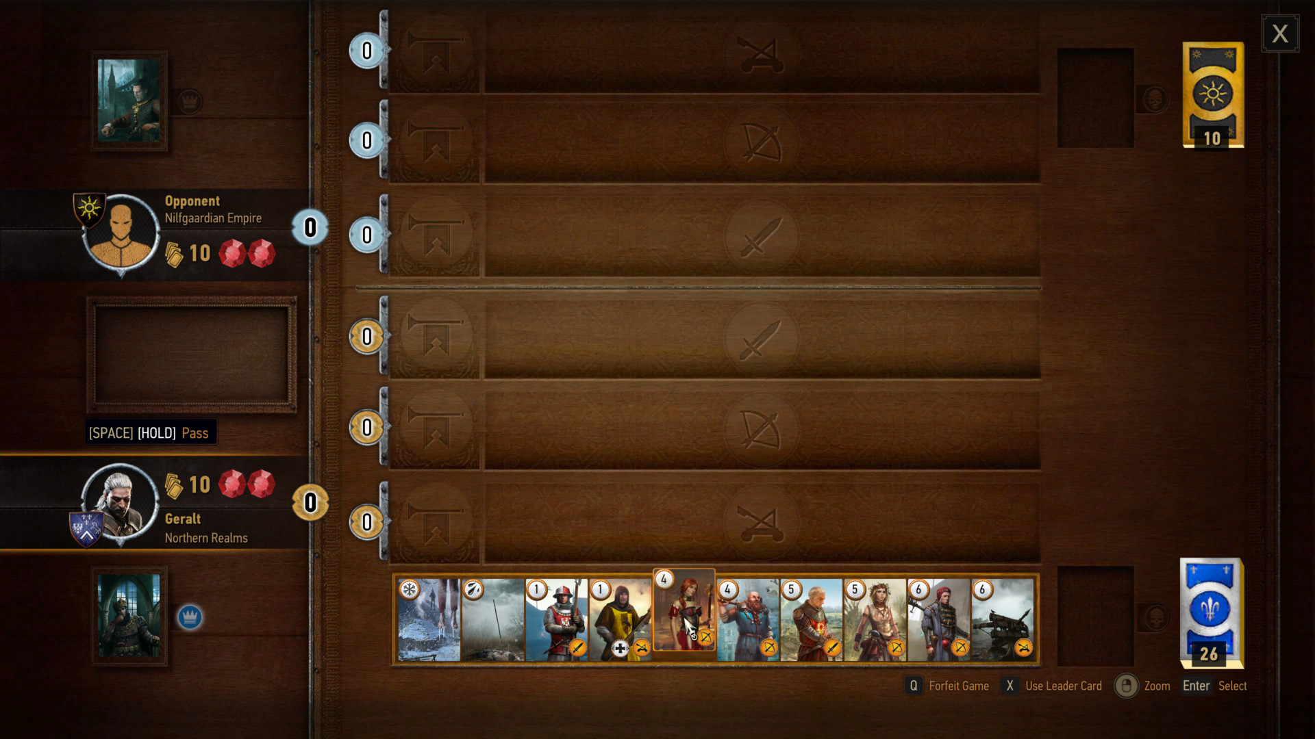 Card game screenshot of The Witcher 3: Wild Hunt video game interface.