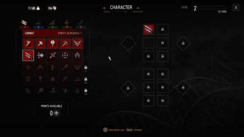 Character screenshot of The Witcher 3: Wild Hunt video game interface.