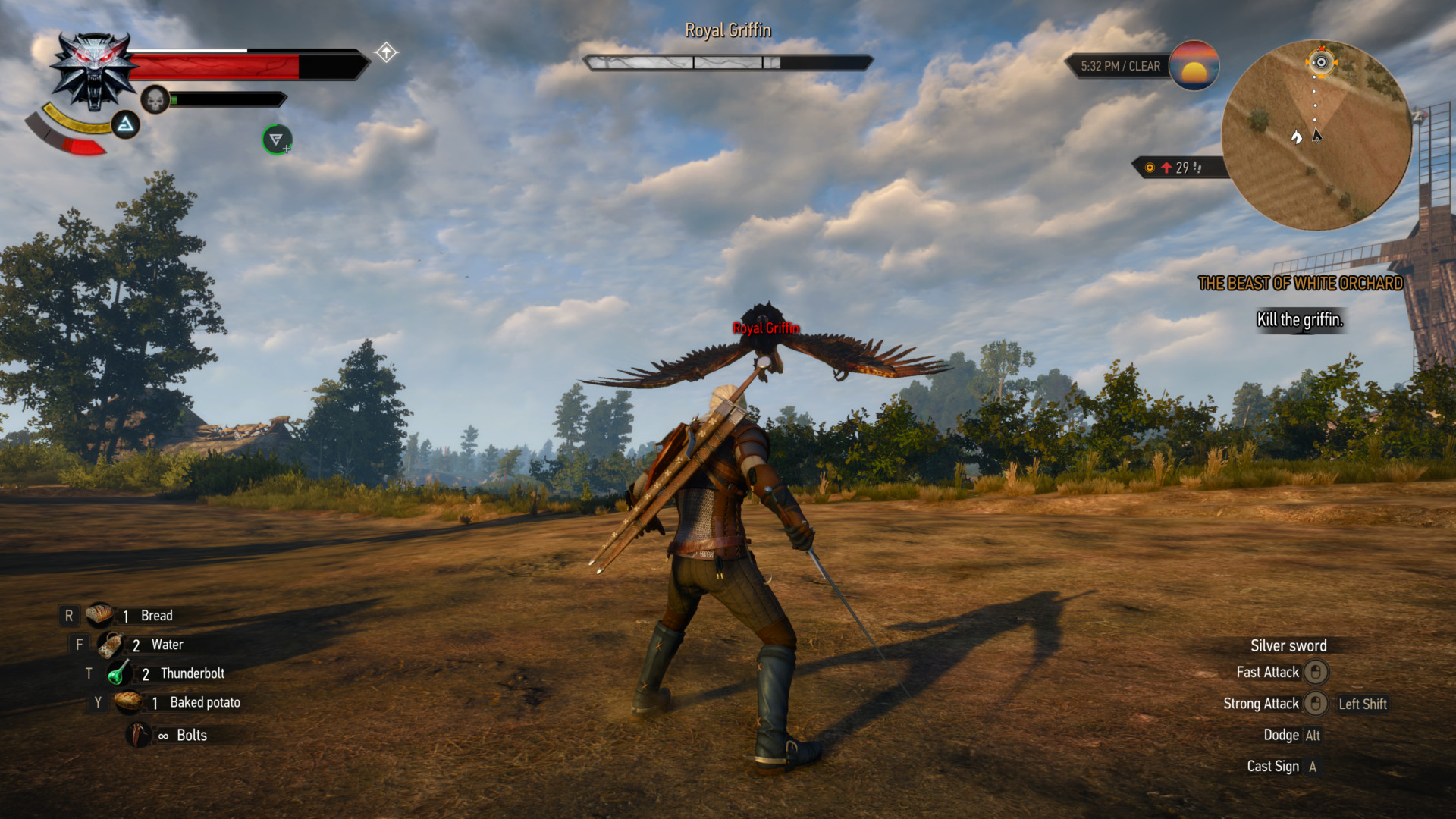 Combat screenshot of The Witcher 3: Wild Hunt video game interface.