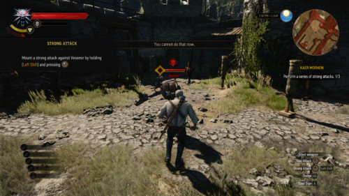 Combat tutorial screenshot of The Witcher 3: Wild Hunt video game interface.