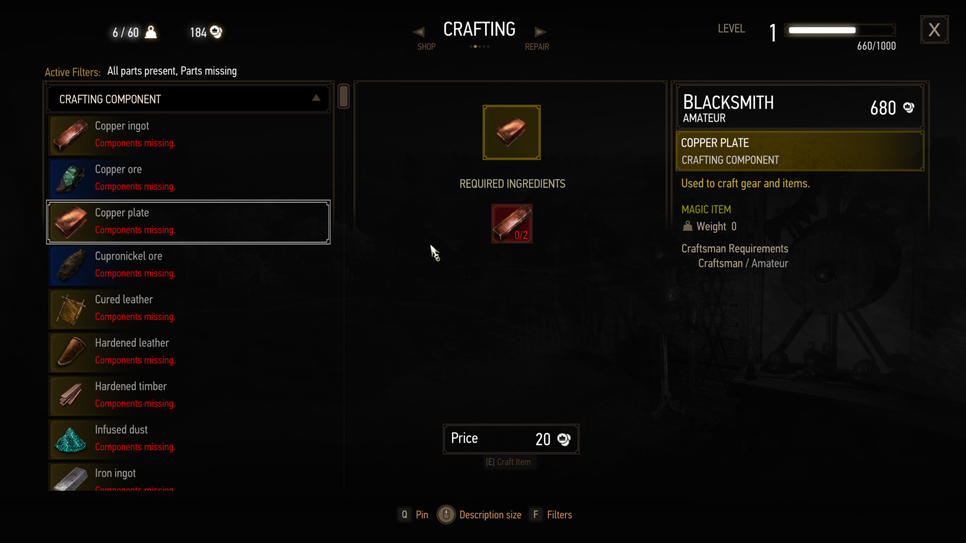 Crafting screenshot of The Witcher 3: Wild Hunt video game interface.