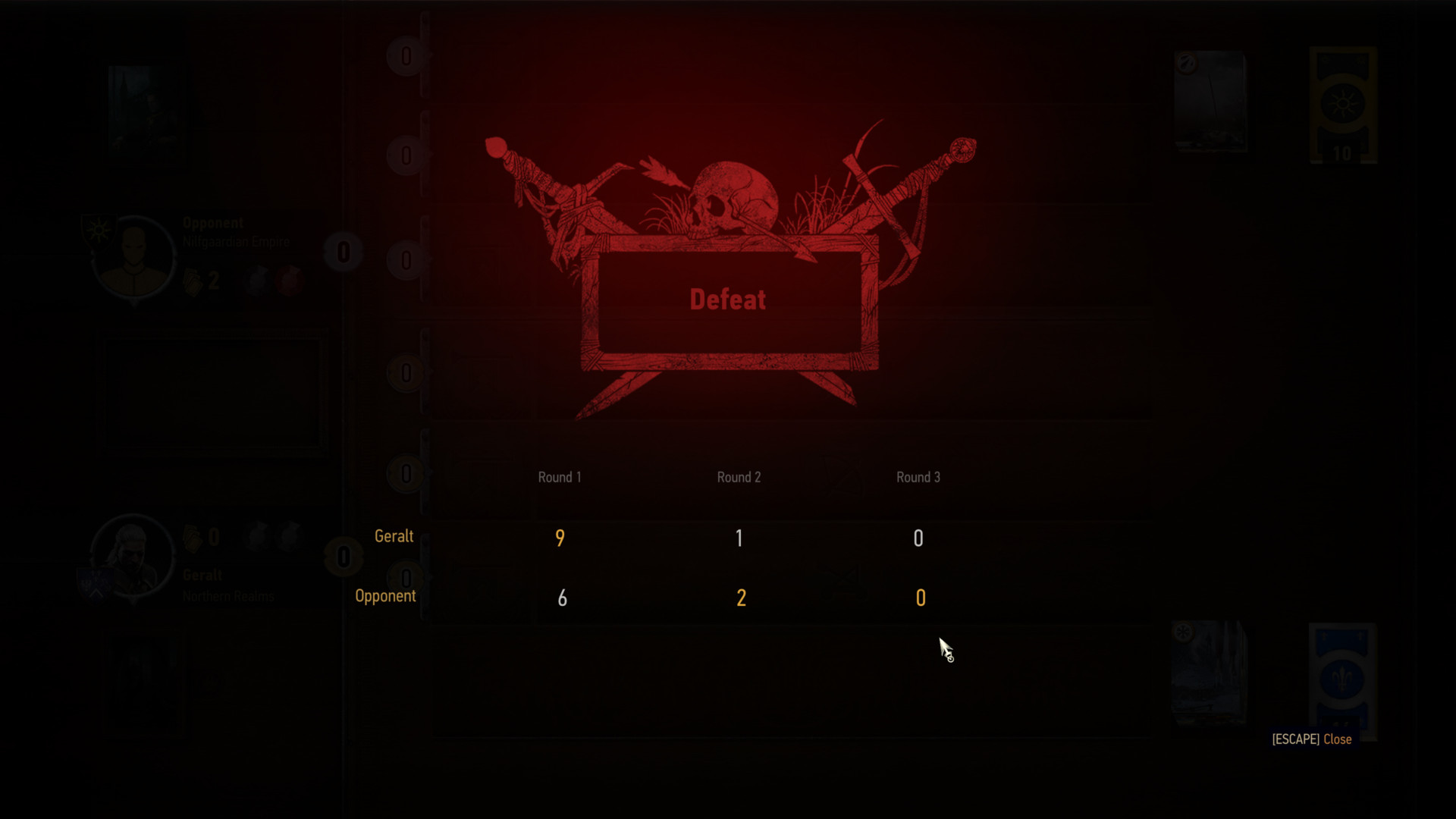 Defeat screenshot of The Witcher 3: Wild Hunt video game interface.