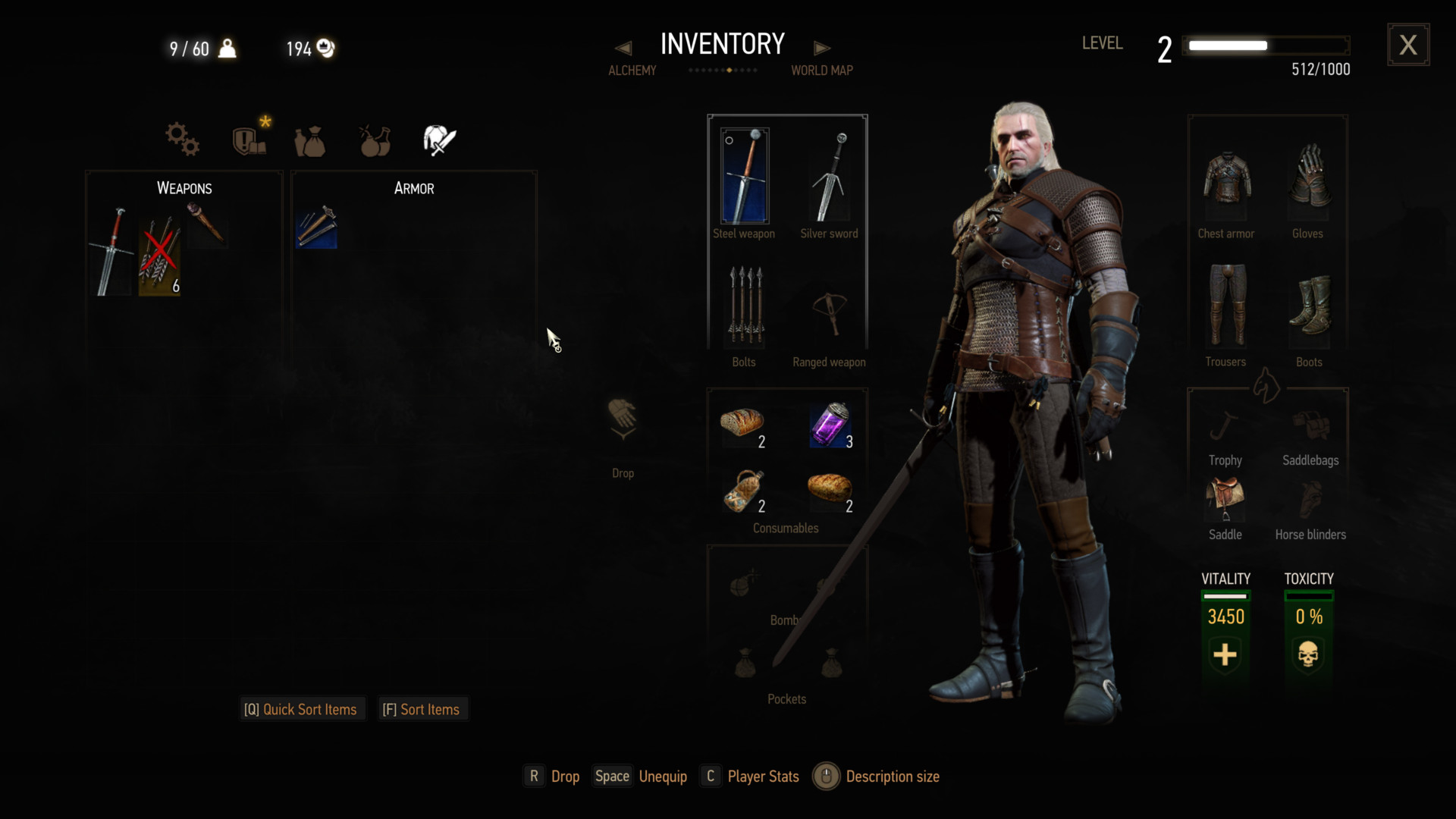 Inventory screenshot of The Witcher 3: Wild Hunt video game interface.
