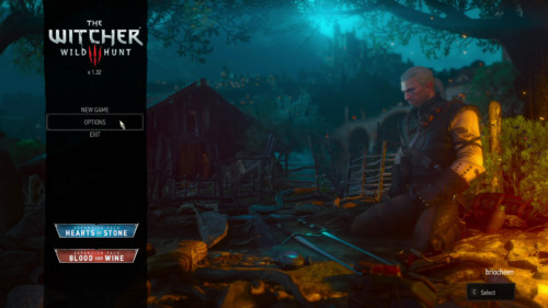 Main menu screenshot of The Witcher 3: Wild Hunt video game interface.