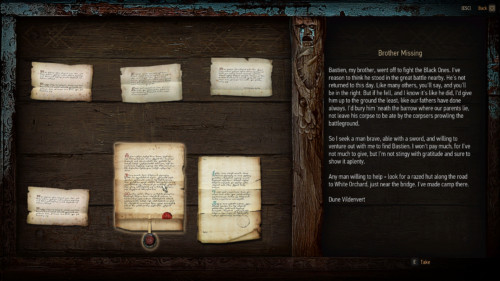 Note screenshot of The Witcher 3: Wild Hunt video game interface.