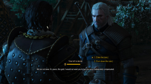 Select dialogue screenshot of The Witcher 3: Wild Hunt video game interface.