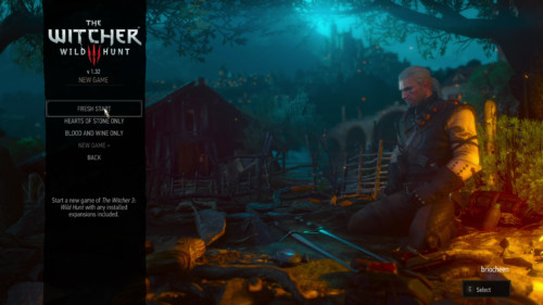 Start a new game screenshot of The Witcher 3: Wild Hunt video game interface.