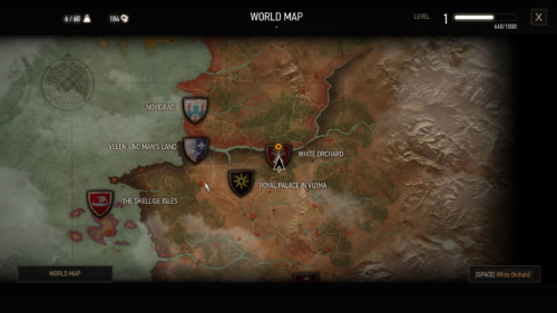 World map screenshot of The Witcher 3: Wild Hunt video game interface.