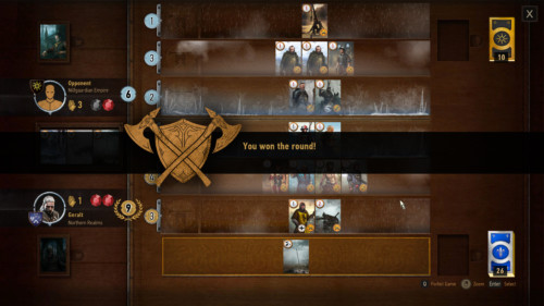 You won the round screenshot of The Witcher 3: Wild Hunt video game interface.
