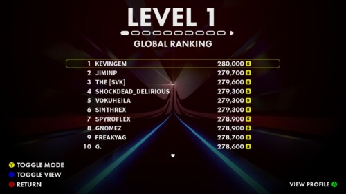 Leaderboards screenshot of Thumper video game interface.