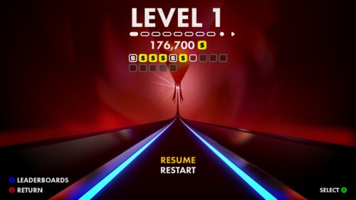 Level Selection screenshot of Thumper video game interface.