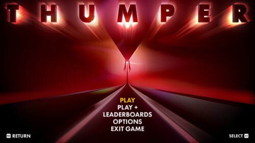 Main Menu screenshot of Thumper video game interface.
