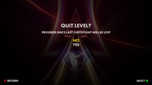 Quit Level screenshot of Thumper video game interface.