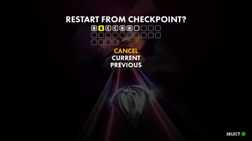 Restart From Checkpoint screenshot of Thumper video game interface.
