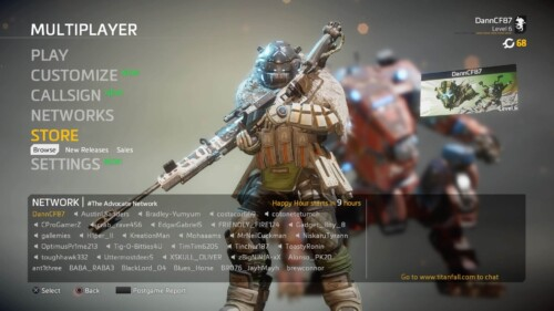 Accessing the store screenshot of Titanfall 2 video game interface.