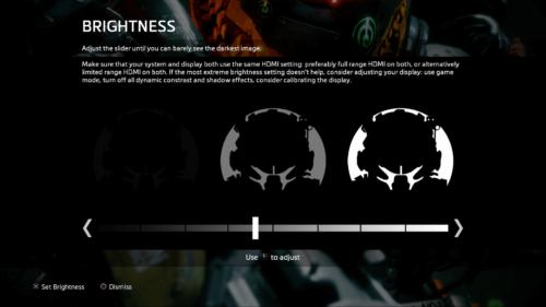 Adjust Brightness screenshot of Titanfall 2 video game interface.
