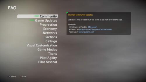 FAQ screenshot of Titanfall 2 video game interface.