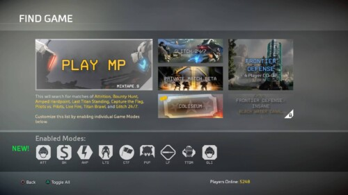 Find Game screenshot of Titanfall 2 video game interface.