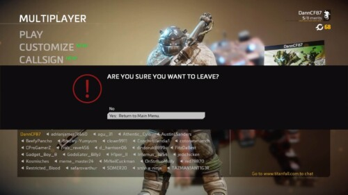 Leave Multiplayer screenshot of Titanfall 2 video game interface.