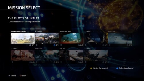 Mission Select screenshot of Titanfall 2 video game interface.