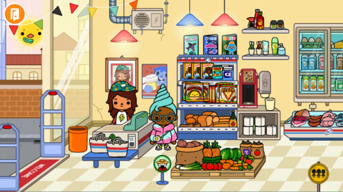 Grocery Store screenshot of Toca Life World video game interface.