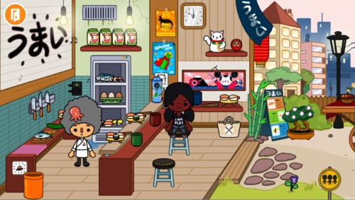 Restaurant screenshot of Toca Life World video game interface.