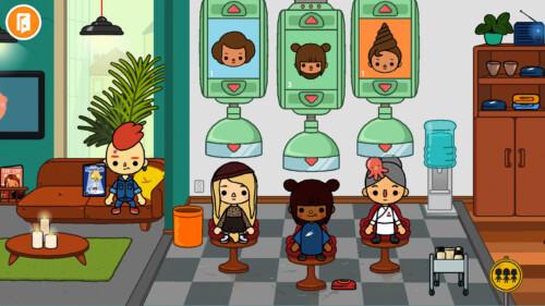 Salon Hair Style Selection screenshot of Toca Life World video game interface.