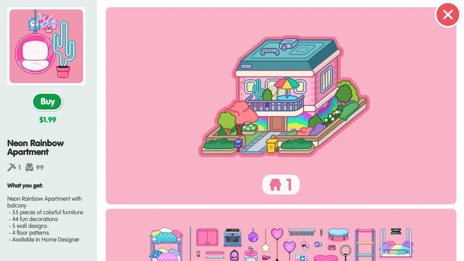 Shop - Item Detail screenshot of Toca Life World video game interface.
