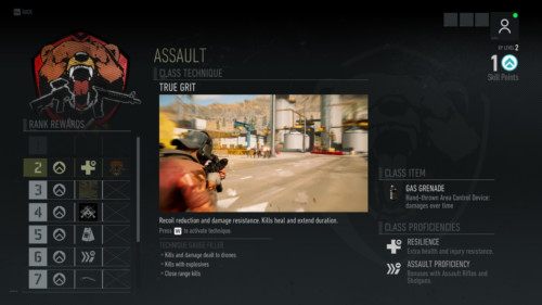Assault skill screenshot of Tom Clancy's Ghost Recon: Breakpoint video game interface.