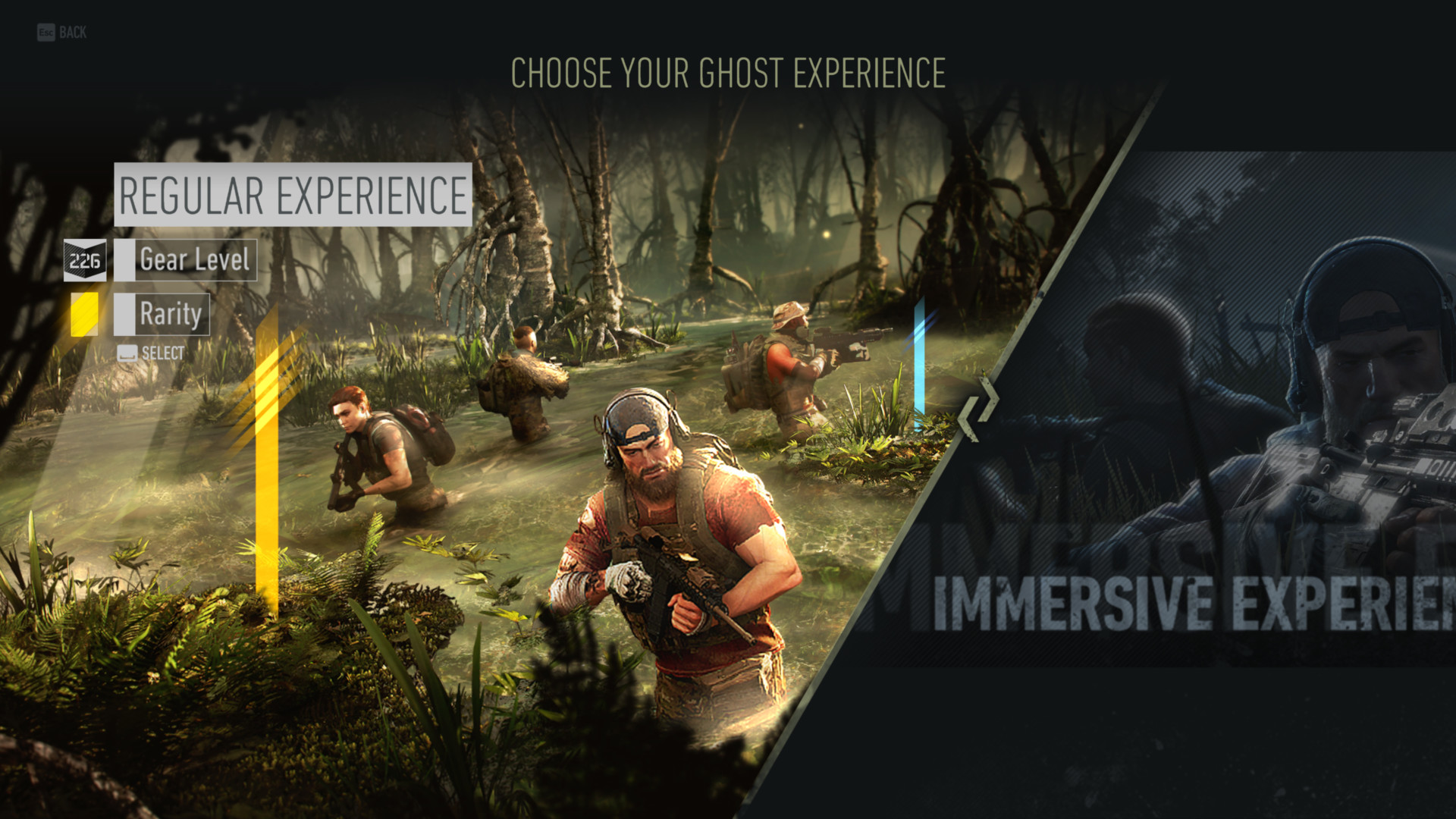 Choose your ghost experience screenshot of Tom Clancy's Ghost Recon: Breakpoint video game interface.
