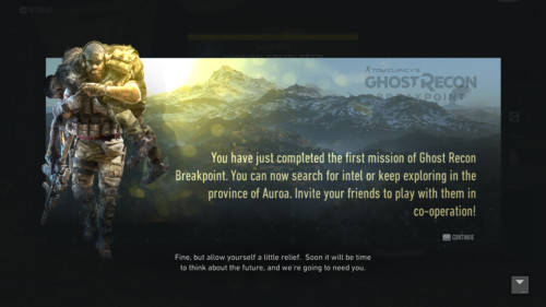 First mission completed screenshot of Tom Clancy's Ghost Recon: Breakpoint video game interface.