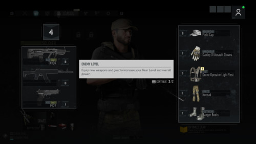 Gear level screenshot of Tom Clancy's Ghost Recon: Breakpoint video game interface.