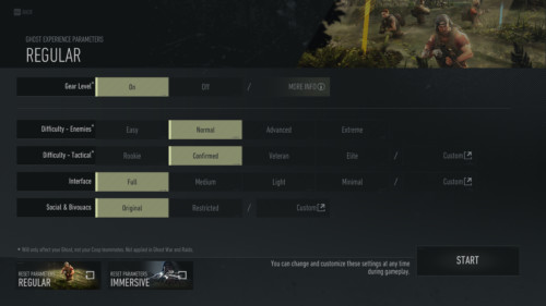 Parameters screenshot of Tom Clancy's Ghost Recon: Breakpoint video game interface.