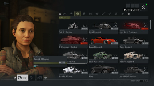 Vehicles screenshot of Tom Clancy's Ghost Recon: Breakpoint video game interface.