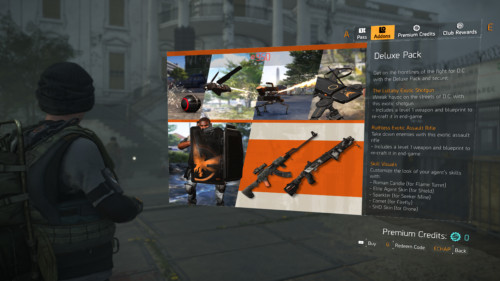 Addons screenshot of Tom Clancy's The Division 2 video game interface.