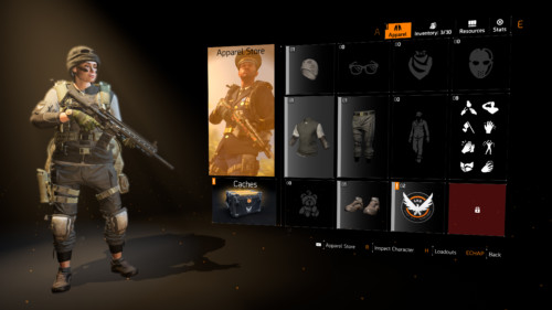 Apparel screenshot of Tom Clancy's The Division 2 video game interface.