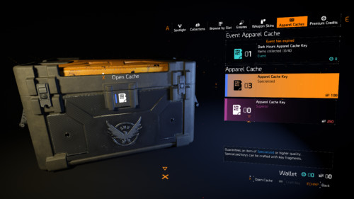 Apparel caches screenshot of Tom Clancy's The Division 2 video game interface.