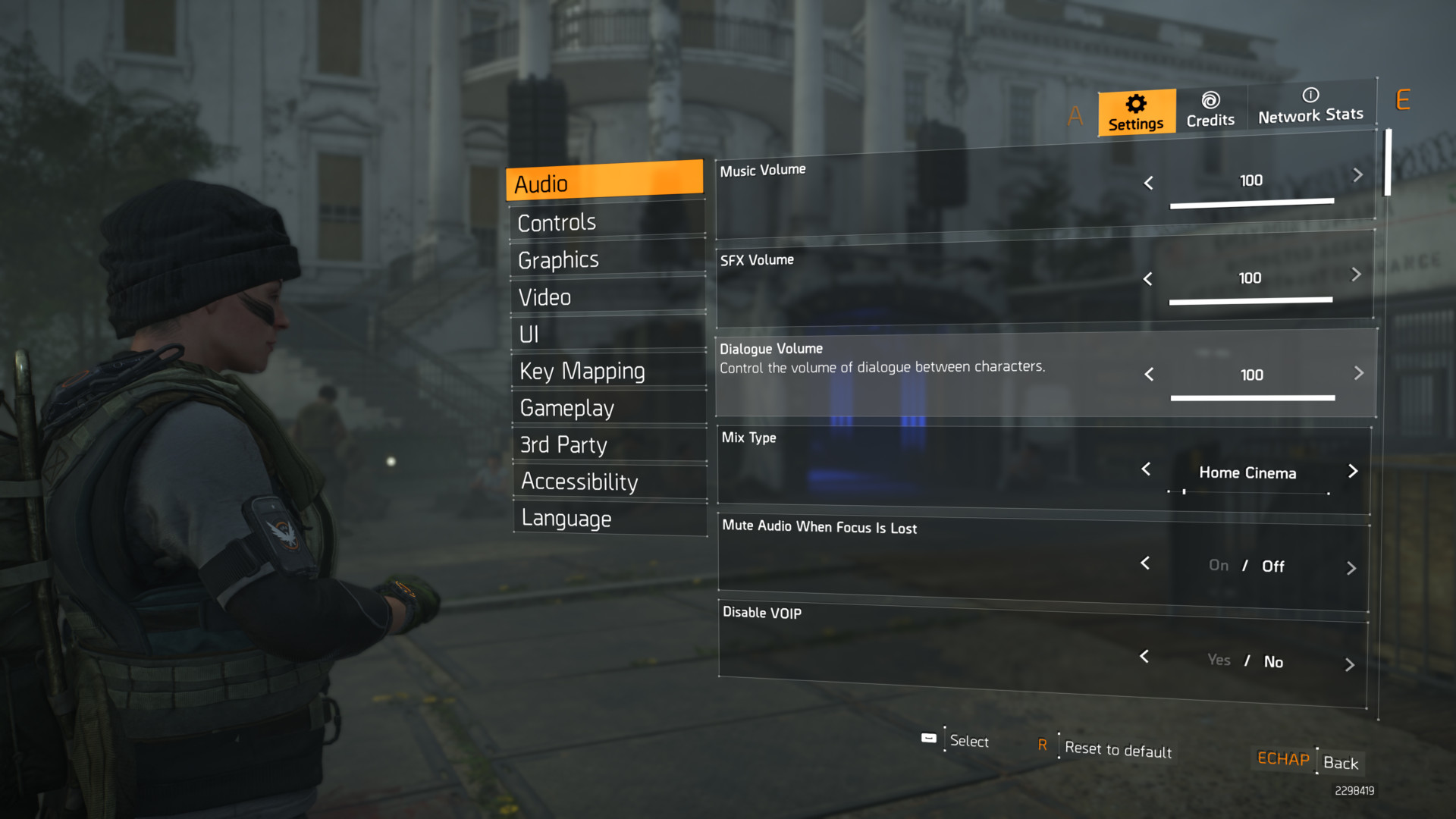 Audio screenshot of Tom Clancy's The Division 2 video game interface.