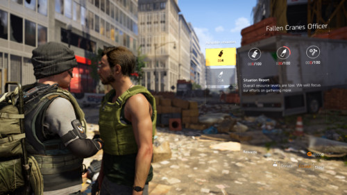 Available resources screenshot of Tom Clancy's The Division 2 video game interface.