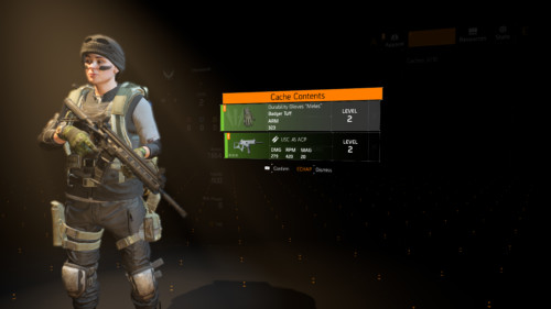 Cache contents screenshot of Tom Clancy's The Division 2 video game interface.