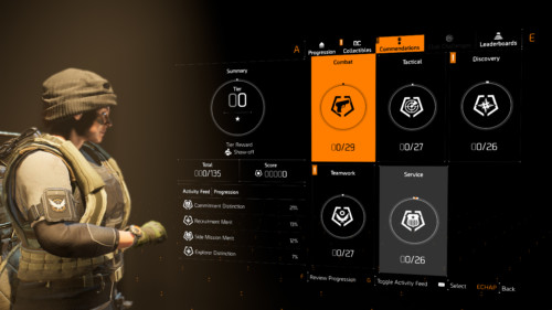 Commendations screenshot of Tom Clancy's The Division 2 video game interface.