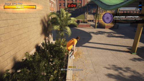 Challenge completed screenshot of Tony Hawk's Pro Skater 1 + 2 video game interface.