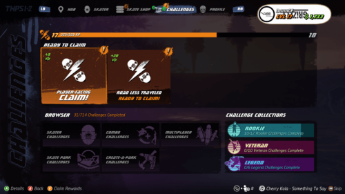 Challenges claiming screenshot of Tony Hawk's Pro Skater 1 + 2 video game interface.