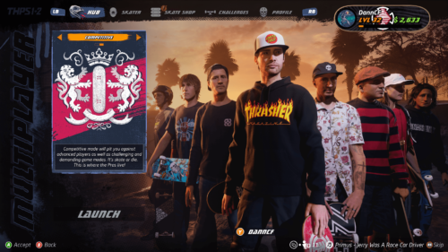 Competitive mode screenshot of Tony Hawk's Pro Skater 1 + 2 video game interface.