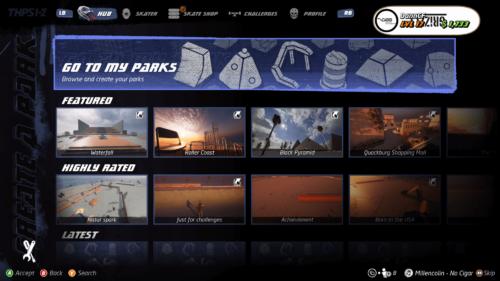 Custom park screen screenshot of Tony Hawk's Pro Skater 1 + 2 video game interface.