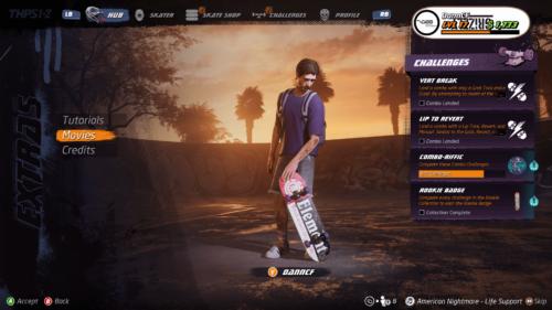 Extras screenshot of Tony Hawk's Pro Skater 1 + 2 video game interface.