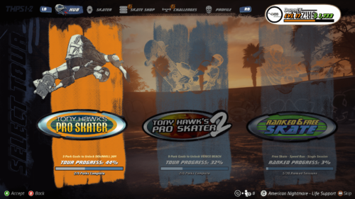 Game selection screenshot of Tony Hawk's Pro Skater 1 + 2 video game interface.