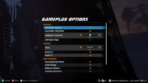 Gameplay options screenshot of Tony Hawk's Pro Skater 1 + 2 video game interface.